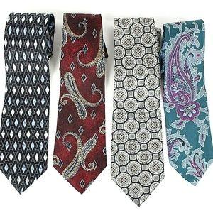 Stafford Men's Necktie Lot of 4 Silk Ties NWOT 441